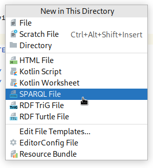 Create a file with New in This Directory popup