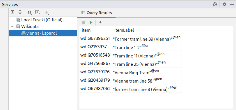 SPARQL query results