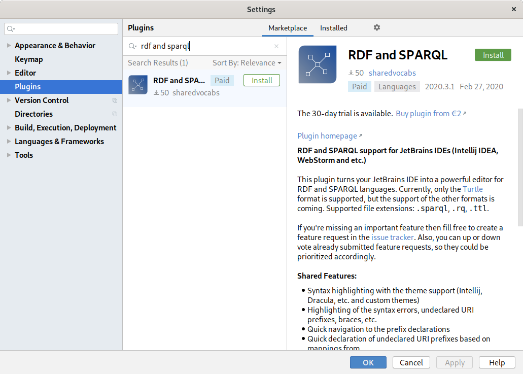 RDF and SPARQL in Marketplace
